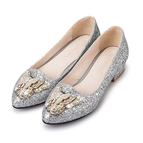 DIMAOL Damenschuhe Funkelnden Glitter Paillette Frühling Herbst Ballerina Heels Low Heel Schuhe Strass Bowknot Pailletten Funkelnden Glitter für Silber, US 11,5/EU 43/UK9.5/CN 45 (Kleine Holz-clogs)