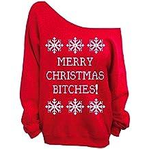 ACHICGIRL Mujer Sudadera Casual Pullover Fuera de Hombro Navidad Impresado