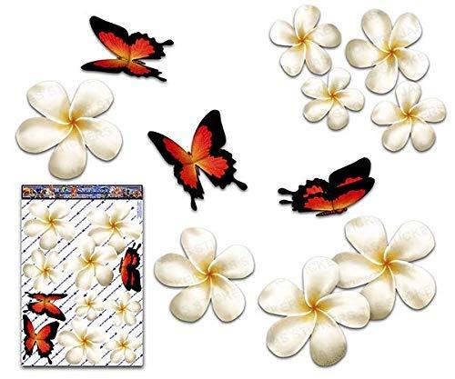 Frangipani Plumeria groß Weiß Doppel Blume + Schmetterling Tier Pack Auto Aufkleber - ST00024WT_LGE - JAS Aufkleber