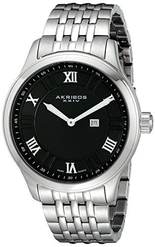 Akribos XXIV Men's AK594BK Swiss Stainless Steel Bracelet Date Watch