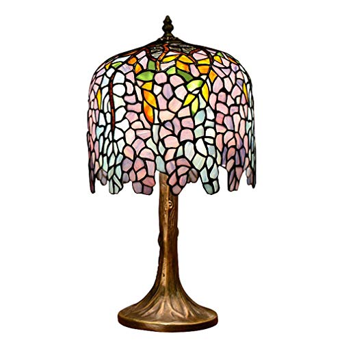 Lampe de Bureau/Lampe de Lecture de Style Tiffany, Lampe de Table en Verre Art Deco en Verre Art Deco de 10 Pouces pour Femme, Lampe de Chevet Romantique Et Chaleureuse, Lampe de Table de Salon, E2