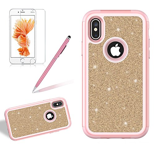 Coque pour iPhone X Brillant Solide, Girlyard Housse Etui de Protection en Plastiques Dur 3 in 1 Anti choc Cover Case Bling Glitter Etoile Paillette Strass Diamant pour Apple iPhone X - Or Rose + Or