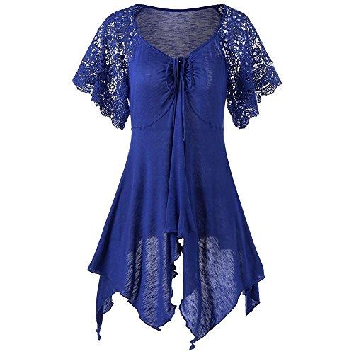 VEMOW Sommer Elegante Damen Frauen Verband Hohe Taille Kurzarm Spitze Floral Patchwork Casual Täglichen Party Strandurlaub Unregelmäßigen Minikleid(Blau, EU-44/CN-4XL)