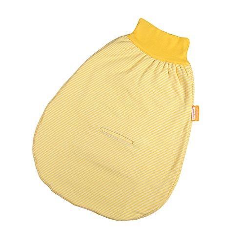 Preisvergleich Produktbild Hoppediz S-68-gel-g Wohlfühl-Strampelsack gestreift mit Gurtschlitz, Größe 68-74, gelb