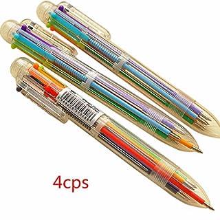 QHGstore 4Pcs Neuheit 6 Farbe in 1 Kugelschreiber Büro Schulbedarf Studenten Geschenk