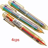 QHGstore 4Pcs Novelty 6 Color in 1 Ballpoint Pen Office School Supplies Students Gift