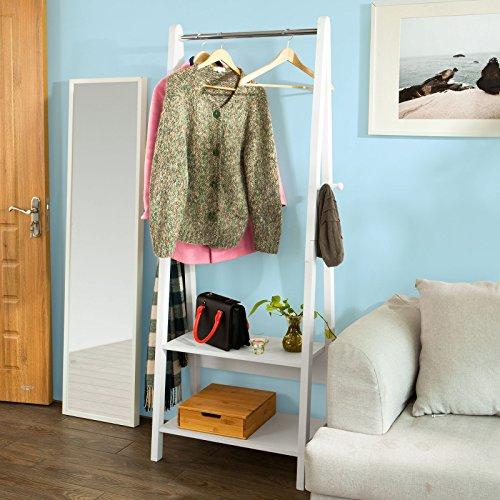 SoBuy® Ständer, Kleiderständer, Kleiderstange, Garderobenständer, Kindergarderobe,Hängeregal, mit zwei Ablagen, FRG59-W