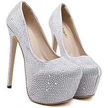 Xianshu Mujeres Rhinestones Stiletto tacones altos boca baja fiesta club nocturno único zapatos bombas