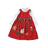 Weihnachten Kleid Mädchen Rock Schneemann Deko mit Schleife als niedlich Weihnachtsgeschenk für Mädchen 6 Monate-5 Jahre LianLe (110(2-3Jahre))