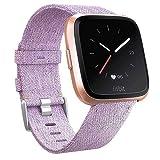 CAVN Fitbit Versa Correa Tejida, Correa de Repuesto Fitbit Versa para Mujeres Hombres de Liberación Rápida Correa de Reloj con Cierre Ajustable de Metal Inoxidable para Fitbit Versa Reloj Inteligente,PúRpura