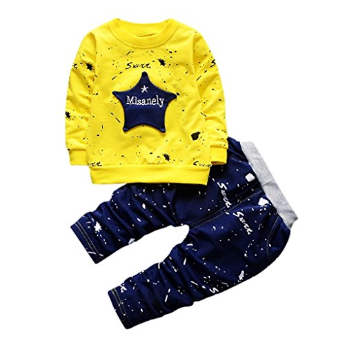 Hirolan Neugeborenes Säugling Baby Jungen Star Drucken Tops + Hosen Outfits Baggyjeans Pullover & Strickjacken Sweatshirts Hosen Babykleidung Krabbelhosen (Gelb, 80)