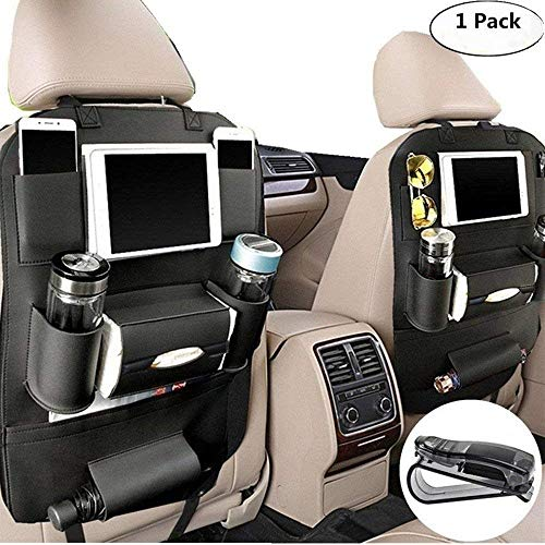 (Happyle Auto Rücksitz Organizer mit Tablett für Baby PU Leder Faltbarer Esstisch Schreibtisch und iPad Mini Halter, Auto Organizer (schwarz))