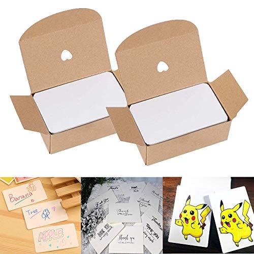 Blanko Papier Karten, 200 Stücke Mitteilungs Karte Wort Karten, Weiß Kraftpapier Karten DIY Papier Karten Ideal zum Graffiti, Nachricht, Selbstgestalten & Kreieren