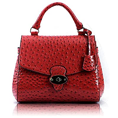 Womens Twist Lock Fashion Handbags Ladies Faux Leather Shoulder Handbags