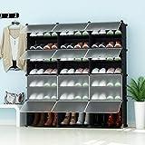PREMAG Torre portaoggetti per riporre scarponi portatili, nera con ante trasparenti, scaffalatura modulare per riporre gli spazi, scarpiera per scarpe, stivali, pantofole 3 * 5