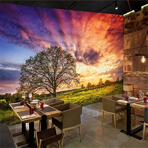 BIZI Beau décor 3D Papier Peint Mural Moderne Mode Coucher de Soleil, Grand Arbre, Papier Peint de paroi latérale des Prairies,200 * 140cm