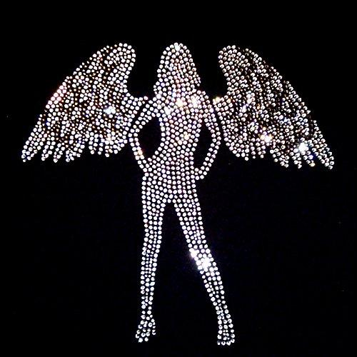 elegantes Damenshirt grosser Engel Strass zweifarbig Engelsflügel Rot
