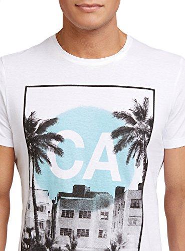 oodji Ultra Herren Kurzärmeliges T-Shirt mit Sommer-Fotodruck Weiß (1074P)