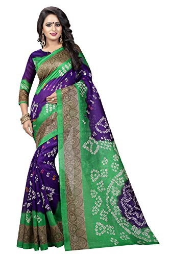 Manorath Georgette And Bhagalpuri Saree With Blouse (787-Bandhnis)_Blue_Free Size