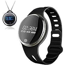 Smart resistente al agua saludable Fitness Tracker pulsera pulseras inalámbrico Bluetooth pulsera reloj inteligente Bluetooth sincronización para android y IOS Smart Watch (negro)