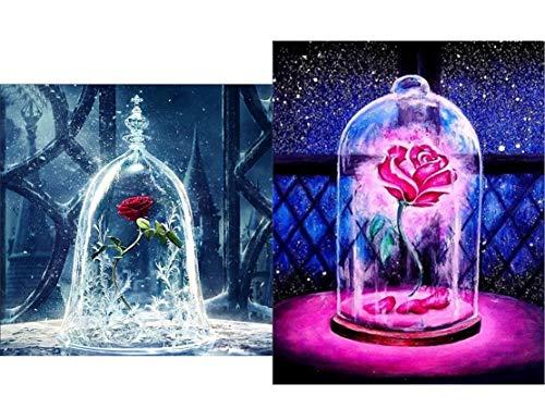 2 teilige DIY 5D Diamant Malerei Kunst kompletter Bohrersatz, voller Diamant Schönheit und Tier Rose 5D Diamant Kunst, Diamant Malerei Set Art Deco Rose 2 Tier