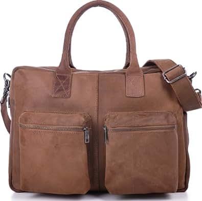 URBAN FOREST, Unisex, Messengerbags, Ledertasche, Vintage, Business-Bags, Aktentaschen, Laptoptaschen, Notebooktaschen, Handtaschen, Umhängetaschen, DIN-A4, Braun, Cognac, 43x30x13cm (B x H x T)