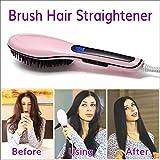 SDCXV Elektrische Heizung Keramik Haarglätter Pinsel Kamm Digital Anion Haarpflege (Pink, EU-Stecker) Vorräte