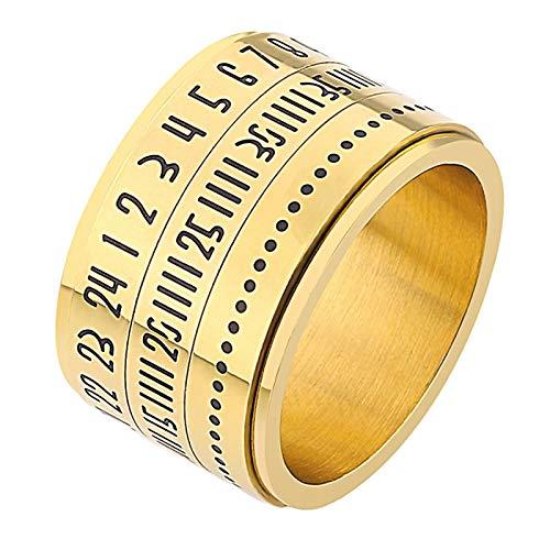Bishilin Edelstahl Frauen Männer Ring Edelstahlring Gold mit Römischen Nummern Zeit Herren Damenring Freundschaftsring Gr.60 (19.1) - Ring Frauen Criss Cross