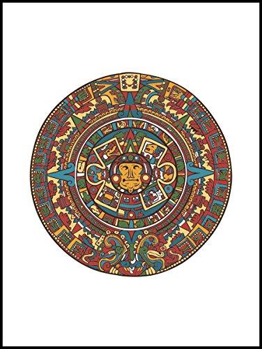 Fliesenaufkleber Fliesentattoos für Bad & Küche - Küchenfliesen für weiße einzelne Fließen empfohlen 20x25 cm - Aztekisches Zeichen - Azteken-Kalender (Kalender Zeichen)