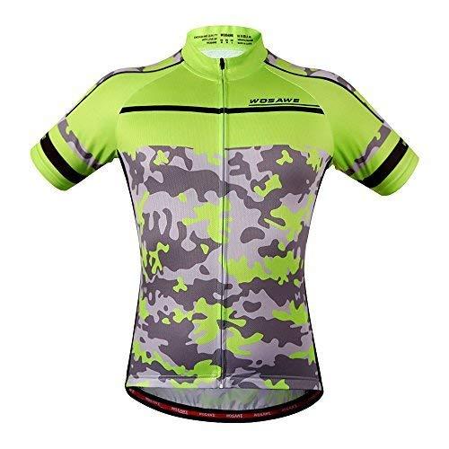 WOSAWE Herren atmungsaktiv kurz Sleeve Radfahren Jersey Gepolsterte Shorts Quick Dry S Jersey_Camouflage -