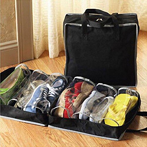 botrong Portable Schuhe Travel Storage Bag Organizer Tote Gepäck Carry Tasche HOLDER Size:38X33X19cm schwarz