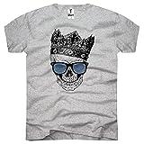 TEE-Shirt, Herren T-Shirt Totenkopf mit Krone Größe XXXL,Grau