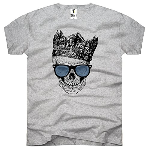 TEE-Shirt, Herren T-Shirt Totenkopf mit Krone Größe XL,Grau