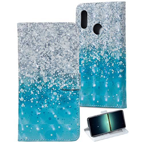 Preisvergleich Produktbild Leder Hülle mit Huawei Honor 10 Lite,  Standhülle Cover Brieftasche Case mit KunstLeder Handy mit Kartenfach Kredit Karten Geldklammer Hülle Etui im 3D Relief Muster Look für Huawei Honor 10 Lite Cover