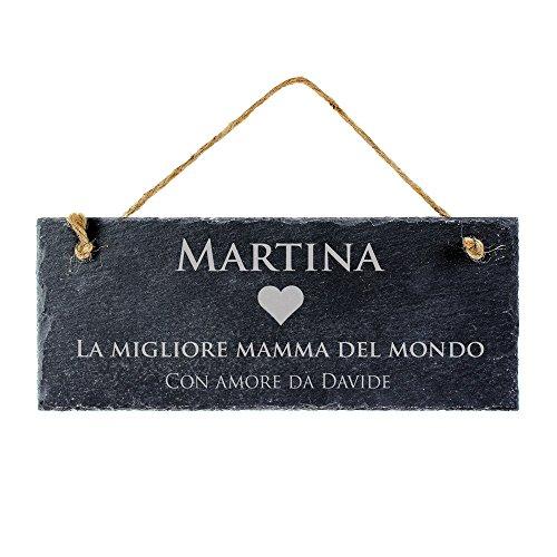 Ardesia lavagna targa - Targa con incisione - Per la migliore mamma del mondo - Personalizzabile con nome - Feste della mamma - 25 x 10