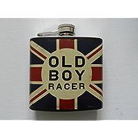 Union Jack Design 5oz Hip Flask Old Boy Racer by The Harvey Makin Collection