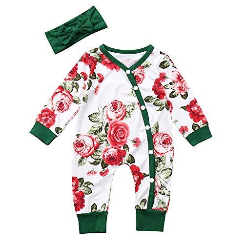 MEIbax Neugeborenes Baby Langarm Blumen Druck Strampler Spielanzug + Stirnband Stellt Kinderkleidung Ein Outfits, Unisex Kleinkinder Overall Jumpsuits