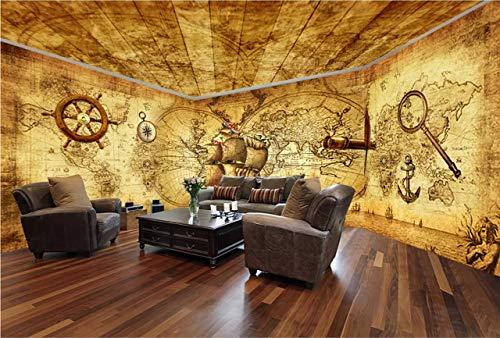 Fototapete 3D Tapete Wanddeko Design Anpassbare Seide Wallpaper Wandbilder Reales Thema-Raum Des Karibischen Piraten Volles Haus