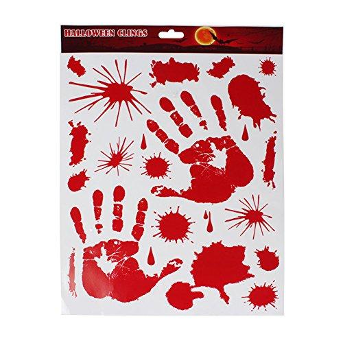 Brave Pioneer Halloween Horror Sticker Wandaufkleber Fenster Aufkleber Bonden Wall Tattoo Window Blutige Hände und Blutspritzer Scary (Handabdrück)