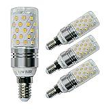 Sagel E14 LED Mais Birne, 12W LED Kerzenleuchter Glühbirnen 100 Watt Äquivalent, 1200lm, Warm Weiß 3000K LED Kronleuchter Lampen, Sockel E14, Nicht Dimmbare LED Lampe, 4er Pack