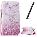 Slynmax Coque iPhone 5S Marbre Rose Motif Peint Mode PU Cuir Étui pour iPhone...