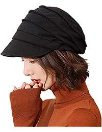 aa58aa5be32d1 Ladies 100% Cotton Beret Visor Cloche Hat Baker Boy Cap Newsboy Cabbie  Peaked Hat Warm Fleece Lined Casual Winter Hats for Women 57…