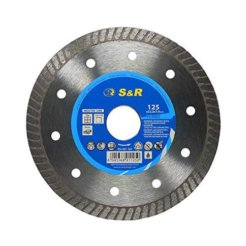 S&R Disco tronzador diamante 125 x 1,6 (5,5) x 22,2 mm para el corte de Cerámica, Cerámica dura, Azulejos, Mármol, Granito, Piedra caliza y otros materiales duros. Calidad Profesional