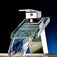 Mordern diffuso della cascata di vetro beccuccio bagno rubinetto lavabo singola maniglia Bagno Vasca BasinMixer TapsContempopary Stile finitura cromata lavello del vaso di vanità Rubinetti doccia vasca Deck Monte rubinetto di