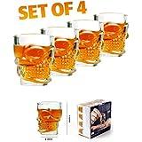 Happy GiftMart Set of 4 Crystal Skull Head Shaped Shot Glasses for Vodka Coke Whiskey Cup Home Bar Drink