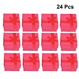 OUNONA 24 piezas Joyería Organizador Caja de Regalo Regalo Pendientes Pulsera para Collar (Rojo)