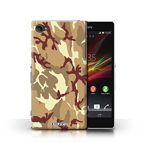 KOBALT® Hülle Case für Sony Xperia Z1 Compact | Weiß 1 Entwurf | Armee/Tarnung Kollektion Braun 4