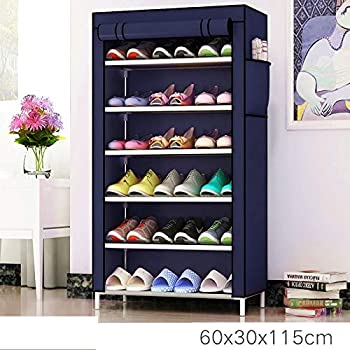 Keekos Multipurpose Portable Folding Shoes Rack 6 Tiers Multi-Purpose Shoe Storage Organizer Cabinet Tower with Iron and Nonwoven Fabric with Zippered Dustproof Cover (Navy)