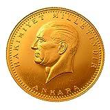 Türkische Goldmünze Original 50 Piaster Kurush Ata Yarim Altin Ohne Öse in Kapsel mit Geschenkbeutel