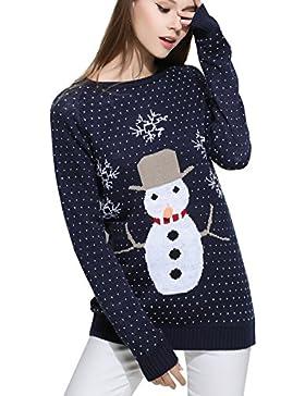 ELLAZHU Mujeres cuello redondo Snowman Knitting Snowflake Feliz Navidad suéter YY57 Azul S